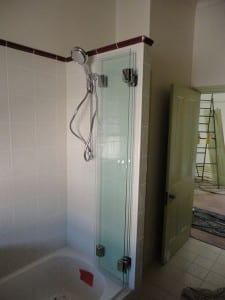 Shower Screen against wall folded