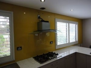 Yellow Glass Splashback around windows