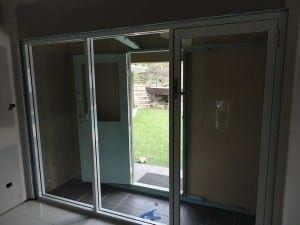 Glass hinged doors from the inside
